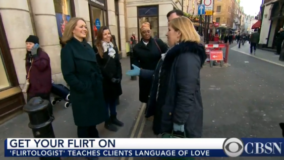 Flirtologist Jean Smith workshop on flirting in the streets CBS report story news